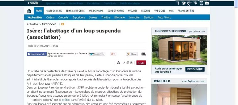 Abattage du loup en Isère : l'arrêté préfectoral suspendu