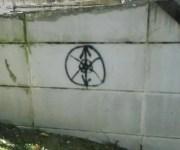 L'edelweiss stylisé tagué sur le mur de la fac de Chambéry.