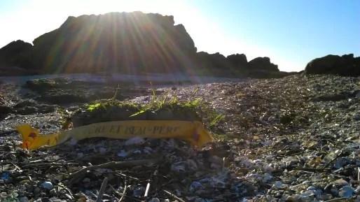 Couronne funéraire sur une plage. © J.Briand/Rue89Lyon