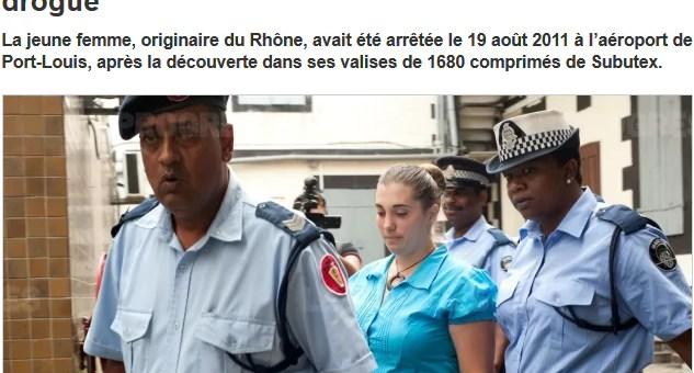 Aurore Gros-Coissy condamnée à 20 ans de prison pour trafic de subutex à Maurice