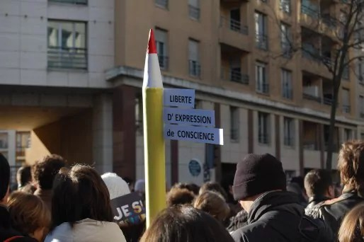 Dans le cortège à Lyon de la marche républicaine dimanche 11 janvier 2015 / © BE Rue89Lyon