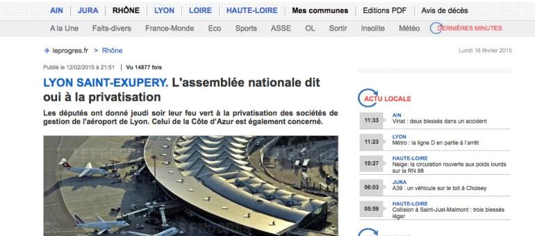 La privatisation de l'aéroport de Lyon Saint-Exupéry amorcée