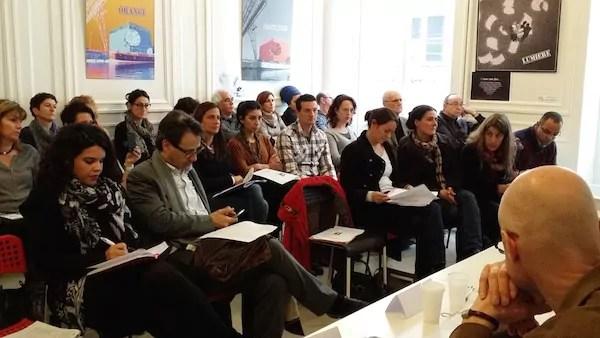 Conférence de presse de RMI69 qui regroupe les associations d'insertion du Rhône. ©LB/Rue89Lyon