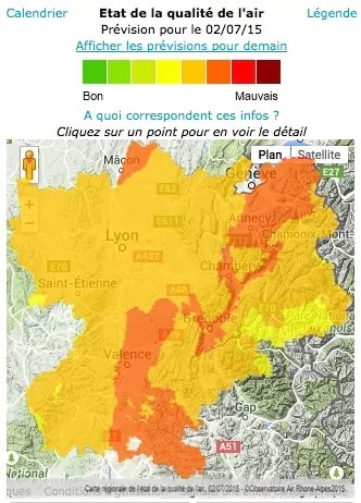 Capture d'écran des prévisions Air Rhône-Alpes pour le 2 juillet.