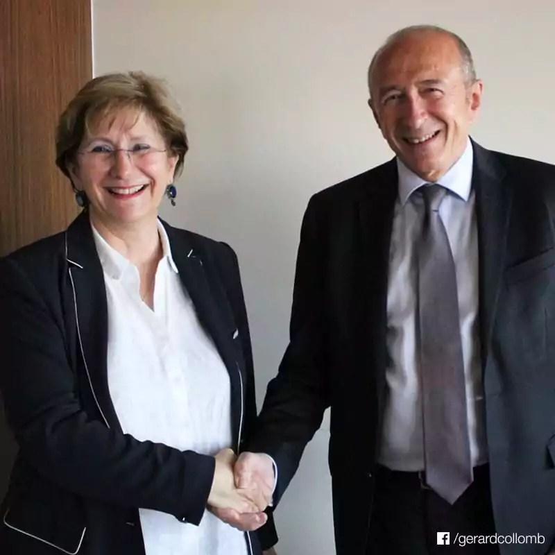 Annie Guillemot, présidente du Sytral et Gérard Collomb, président de la Métropole de Lyon. FB/G.Collomb