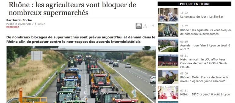 Les actions des agriculteurs se poursuivent dans le Rhône
