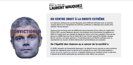 """Capture d'écran de l'appli """"Dans la tête de Laurent Wauquiez""""."""