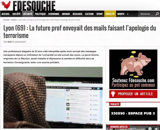 """Capture d'écran de l'article de fdesouche sur la """"future prof""""."""
