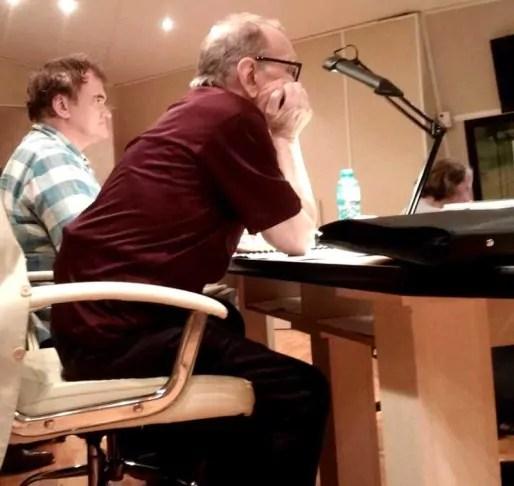 Tarantino et Morricone durant l'enregistrement à Londres.