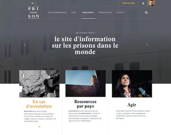 """La future home page du site """"Prison Insider"""""""