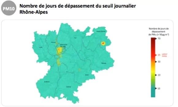 Capture d'écran Air Rhône-Alpes - la pollution aux particules fines en 2015