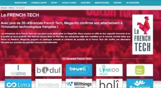 La page French Tech du site e-commerce lyonnais Mégacitiz. Capture d'écran
