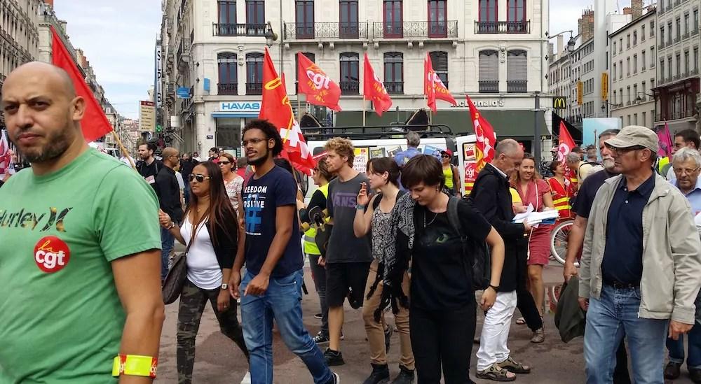 La CGT a encore fourni le gros des troupes pour cette 17ème manif contre la loi travail. ©LB/Rue89Lyon