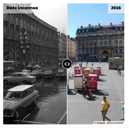 La place des Terreaux dans les années 1960 et en 2016