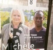 Affiche de campagne à Vénissieux de la candidate Michèle Picard pour le Parti communiste français. Photo BE/Rue89Lyon