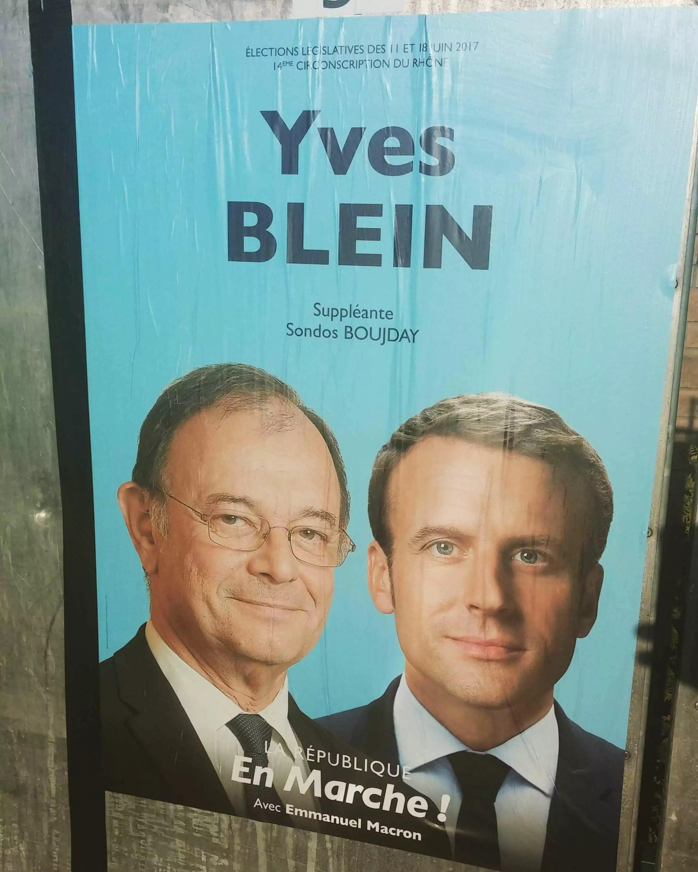 Affiche de campagne à Vénissieux du candidat Yves Blein sur la 14e circonscription du Rhône. Photo BE/Rue89Lyon