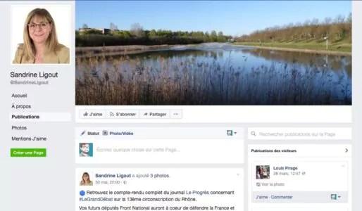 Capture d'écran page Facebook de Sandrine Ligout