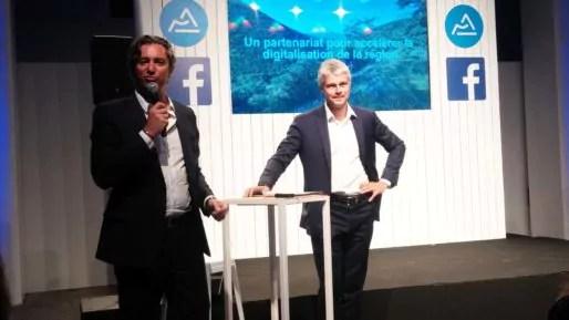 Laurent Solly, directeur de Facebook pour l'Europe du Sud et Laurent Wauquiez à la Sucrière le 3 juillet lors de la présentation du partenariat entre Facebook et la région Auvergne-Rhône-Alpes. Photo BE/Rue89Lyon