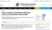 Article de Médiapart sur un amendement réécrit par la présidence Wauquiez sur le bio. Capture d'écran