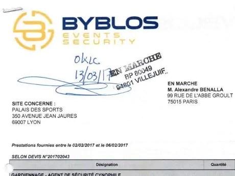 """Capture d'écran du devis de la société de sécurité Byblos adressé à """"EN MARCHE M. BENALLA""""."""