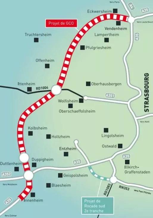 Le tracé du GCO à l'ouest de Strasbourg (Doc CCI)