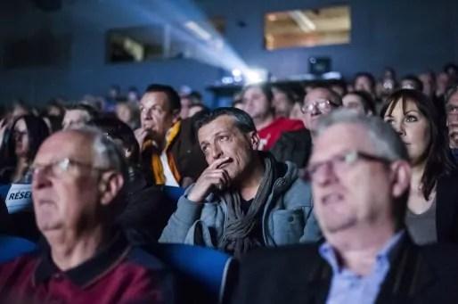 """Edouard Martin pendant la projection du documentaire """"La promesse de Florange"""", à Florange en avril 2013 (Photo Pascal Bastien)"""