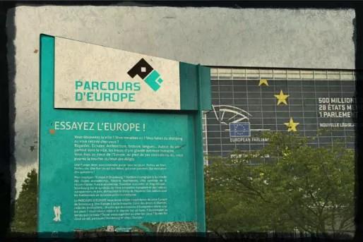 La signification du logo du parcours d'Europe reste un mystère. (Photo JFG / Rue89 Strasbourg / cc)