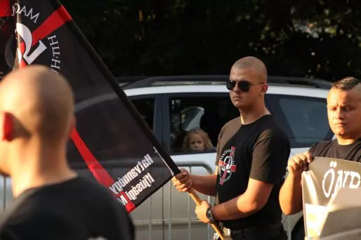 Un militant Jobbik lors d'une manifestation à Budapest, août 2014.