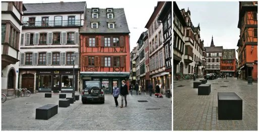 L'aménagement s'est fait dans le prolongement de celui de la rue des Frères (2012-2013) - Ici, devant le FEC (Photos MM / Rue89 Strasbourg)