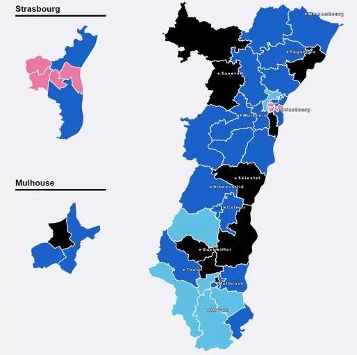La carte de l'Alsace au soir du premier tour. La tendance sera-t-elle confirmée ?