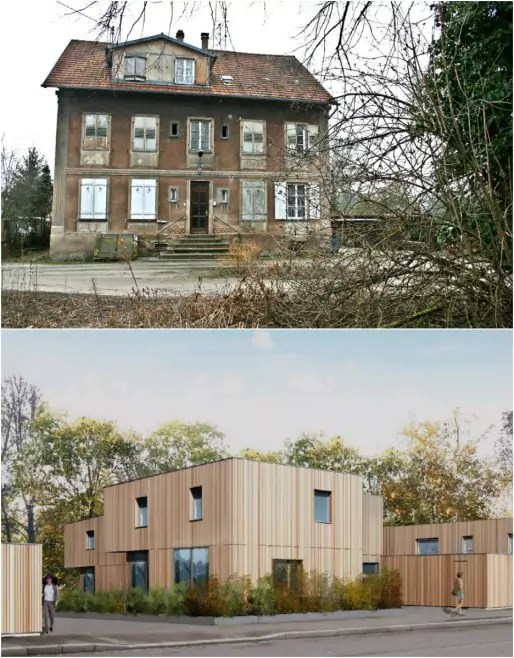 """La """"Bleich"""", ancienne propriété autour de laquelle étaient installées les cabanons de blanchisserie, sera bientôt remplacée par des logements en accession sociale à la propriété (Photo MM - visuel Atelier d'architecture Rey Lucquet)"""