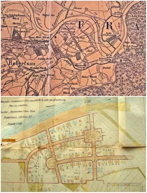 Plans du quartier des Chasseurs - seconde moitié du XIXème siècle (en haut), années 1930 (en bas (documents remis)