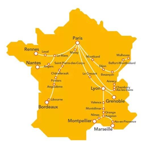 Les destinations de TGV pop. (document SNCF)