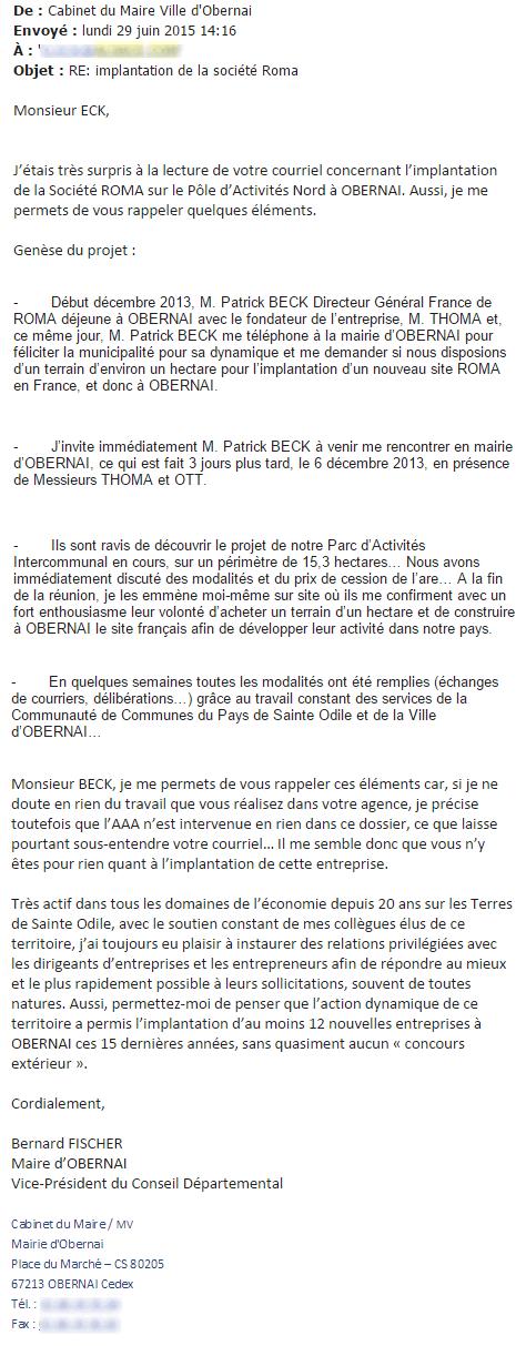 Email de Bernard Fischer à l'Agence d'attractivité (doc Rue89 Strasbourg)