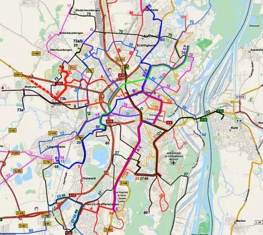 Proposition de réaménagement et d'extension  des lignes du tram à l'horizon 2020. (document Ecocité)