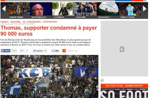 Un supporter du Racing Club de Strasbourg condamné à payer 90 000 euros