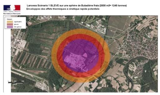 Zones du PPI en cas d'explosion d'une sphère de butadiène (doc préfecture du Bas-Rhin)