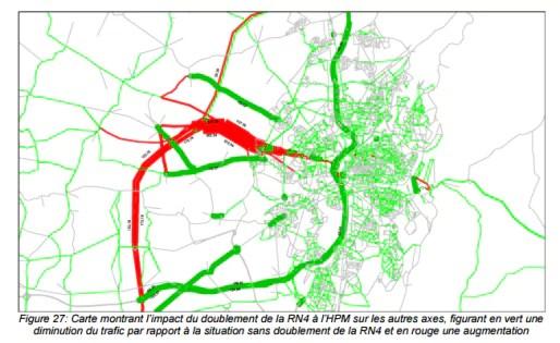 Sur l'axe Ittenheim - Strasbourg, l'État envisage qu'il y aura plus de voitures vers Strasbourg (document de l'enquête publique)
