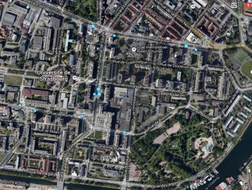 Plan du quartier de l'Esplanade - 2015 (Google Map)