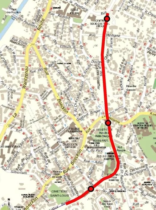 Trois stations sont prévues après l'actuel terminus à Boecklin (doc Eurométropole)