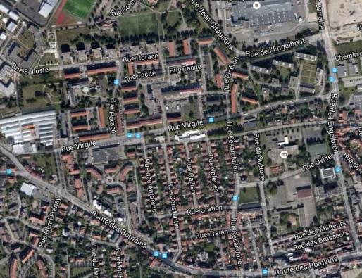 Quartier des Romains à Kœnigshoffen (Google map)