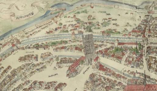 Plan Morant, secteur du Marais Vert, dans la 4ème extension des remparts de Strasbourg, 1548 (Doc. CRDP)