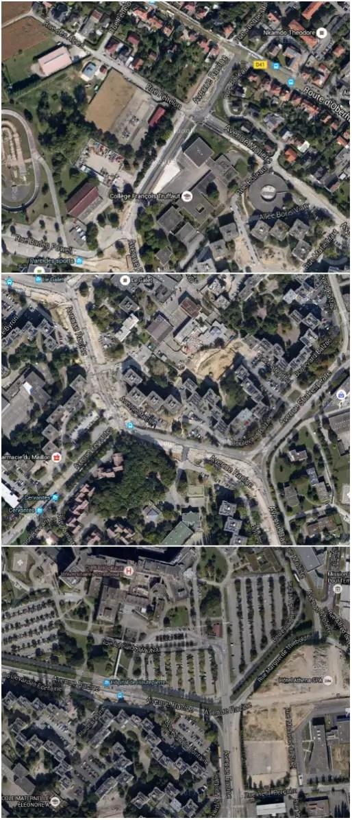 Les trois tronçons de l'avenue Racine, qui sillonne Hautepierre du nord-ouest au sud-est (Google map)
