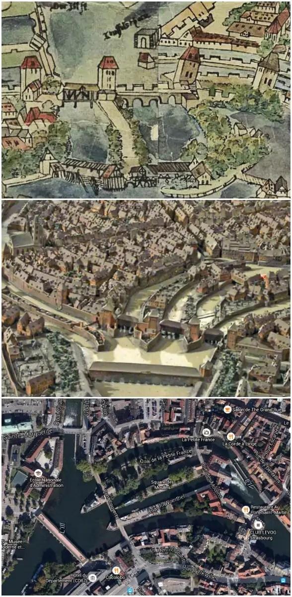 (Plan Morant, 1548 - Plan relief, 1725 - Google map, 2016)