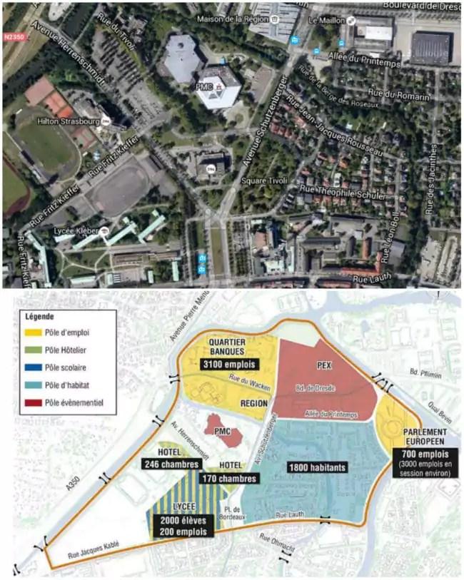 """Plan du quartier Tivoli (sud) - Wacken (nord) ou, désormais, """"Wacken-Europe"""" (Google map / Ville de Strasbourg)"""