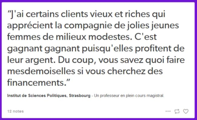 Le blog Paye Ta Fac rassemble les témoignages comme celui-ci provenant de l'IEP de Strasbourg (Photo Capture d'écran Paye Ta Fac)