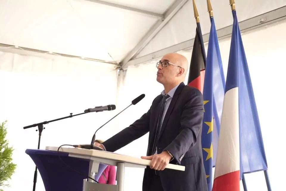 Pour participer à l'inauguration, Frédéric Bierry a dû rappeler à Strasbourg que le Département cofinance le tram vers Kehl