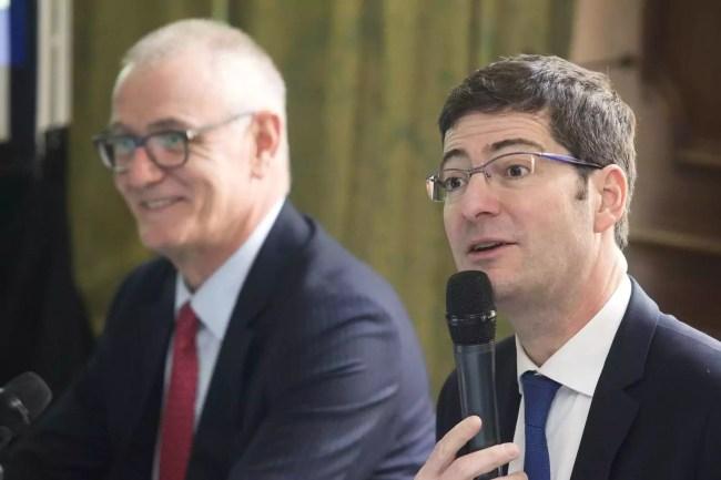 Daniel Baal et Nicolas Théry, président du groupe Crédit Mutuel CM11 (Photo Roger Haeffele / Crédit Mutuel)