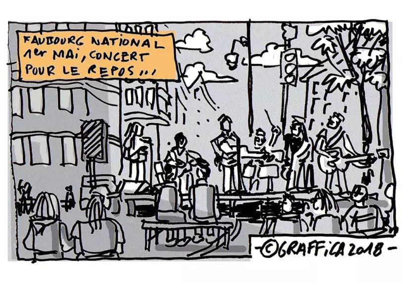 À la Fête du repos, rue du Faubourg-National