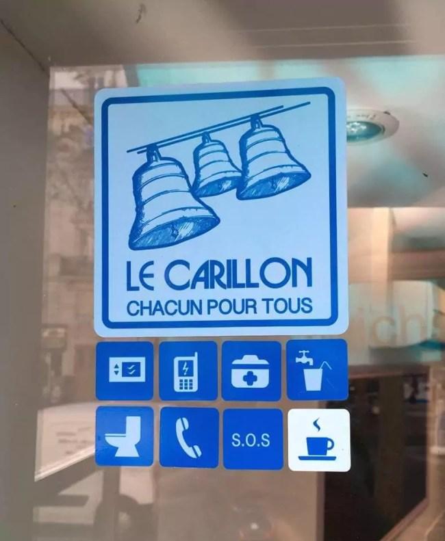 Les commerces qui rejoindront l'initiative du Carillon pourront appliquer les autocollants correspondant à ce qu'ils proposent, comme la mise à disposition d'un micro-ondes ou d'une trousse à pharmacie (Photo Le Carillon Strasbourg)